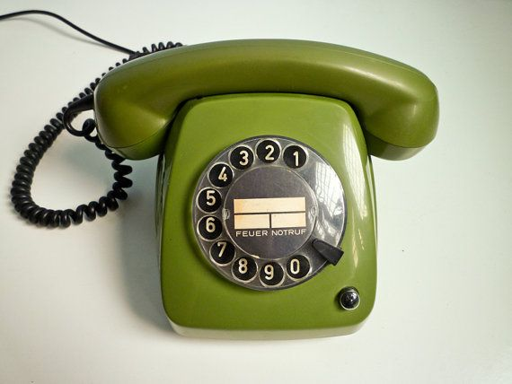 Vintage dial rotary green telephone 70s by EuroVintage on