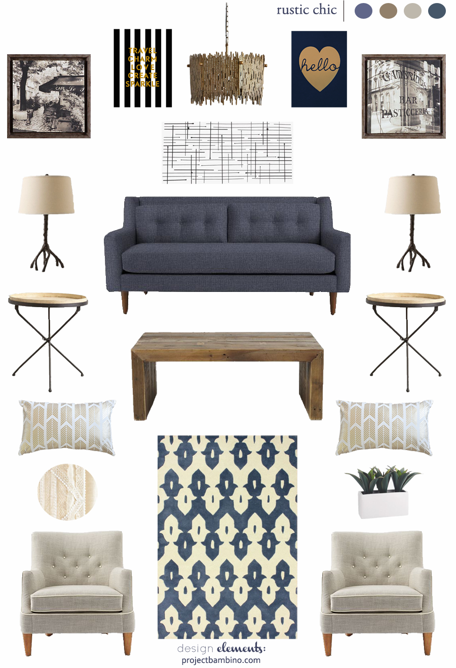 Rustic Chic Living Room Design Inspiration Love The Blues