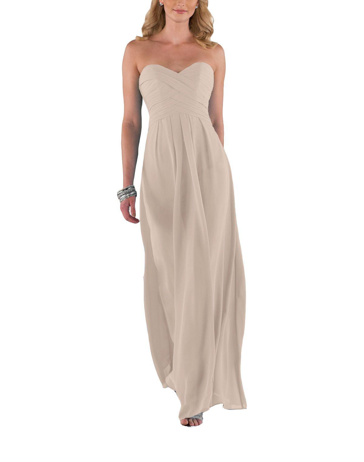 DescriptionSorella Vita Style 8405Fulllength bridesmaid dressSweetheart necklineRuched bodiceChiffon