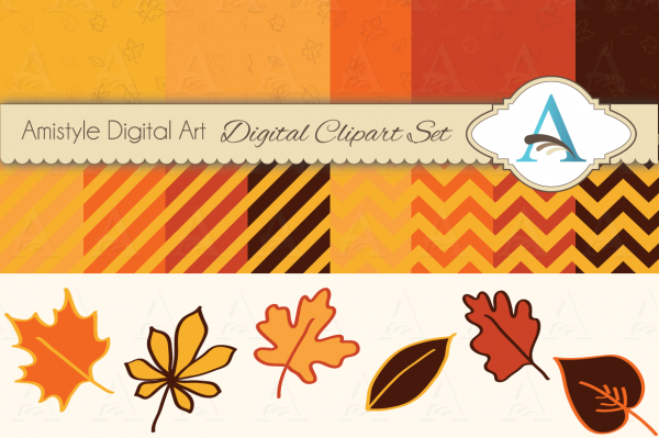 Leaves Cliparts and Fall Digital Paper Set | 22 pieces fall themed clipart set including printable backgrounds and leaves in digital formats, perfect for backgrounds, scrapbooking, card and webdesign. The main colors are brown, yellow, orange and red.