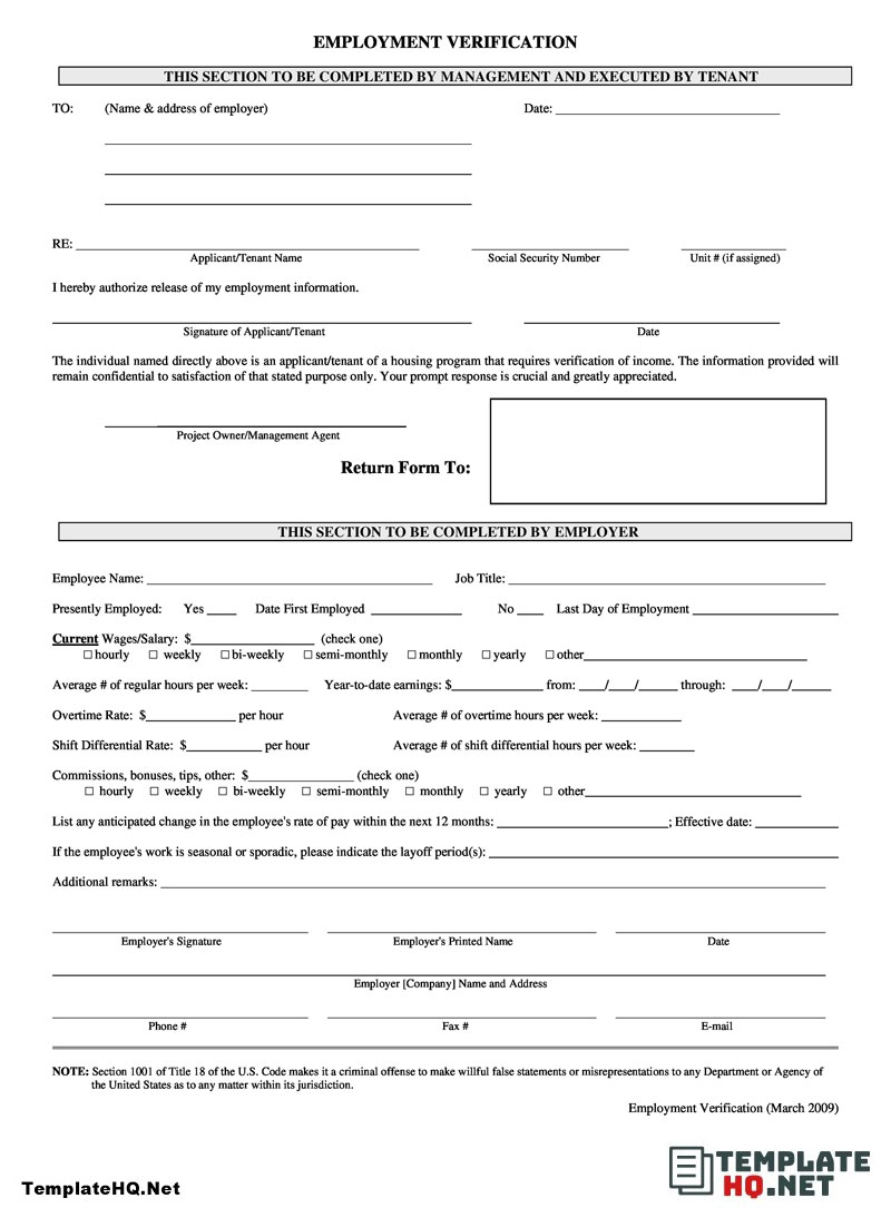 Employment Verification Form Free Word Download Employment Current Job Business Template