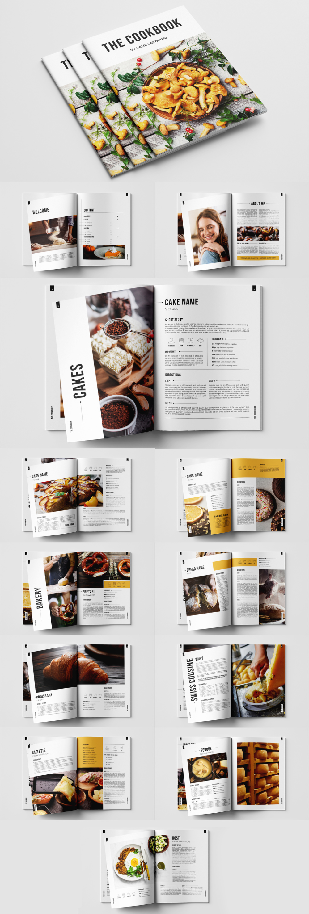 Cookbook Layout With Orange Accents Buy This Stock Template And Explore Similar Templates At Adobe Stock Adobe In 2021 Templates Recipe Template Royalty Free Images