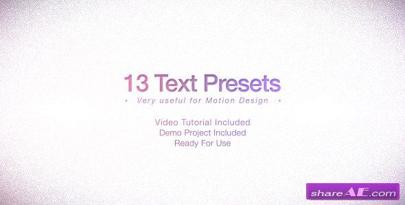 text presets pack after effects project videohive