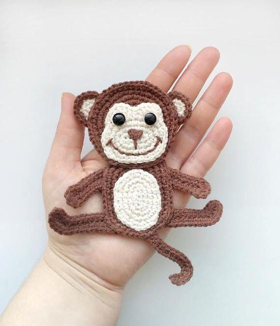 PATTERN Monkey Applique Crochet Pattern PDF Jungle Animal Pattern Zoo Animal Pattern Instant Download Motif Ornament for Baby Blanket ENG #crochetapplicates