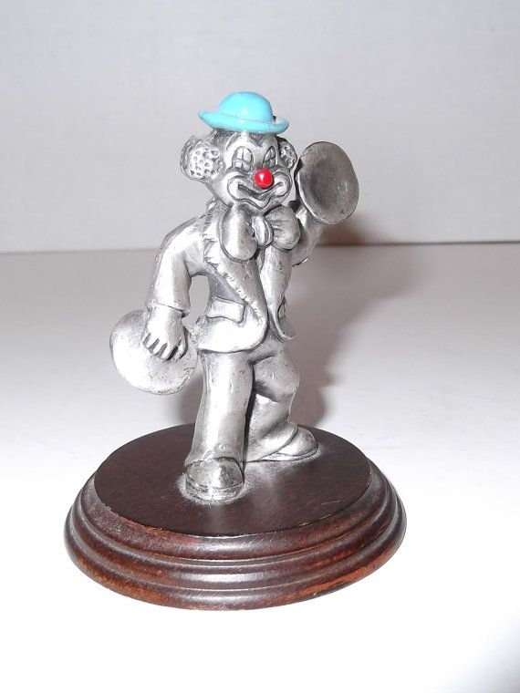 Vintage Pewter Clown Figurine Collectible by