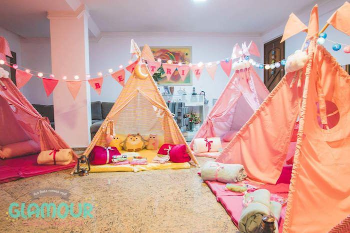 Pajama Sleepover Themed Birthday Party Bohemian Tribal