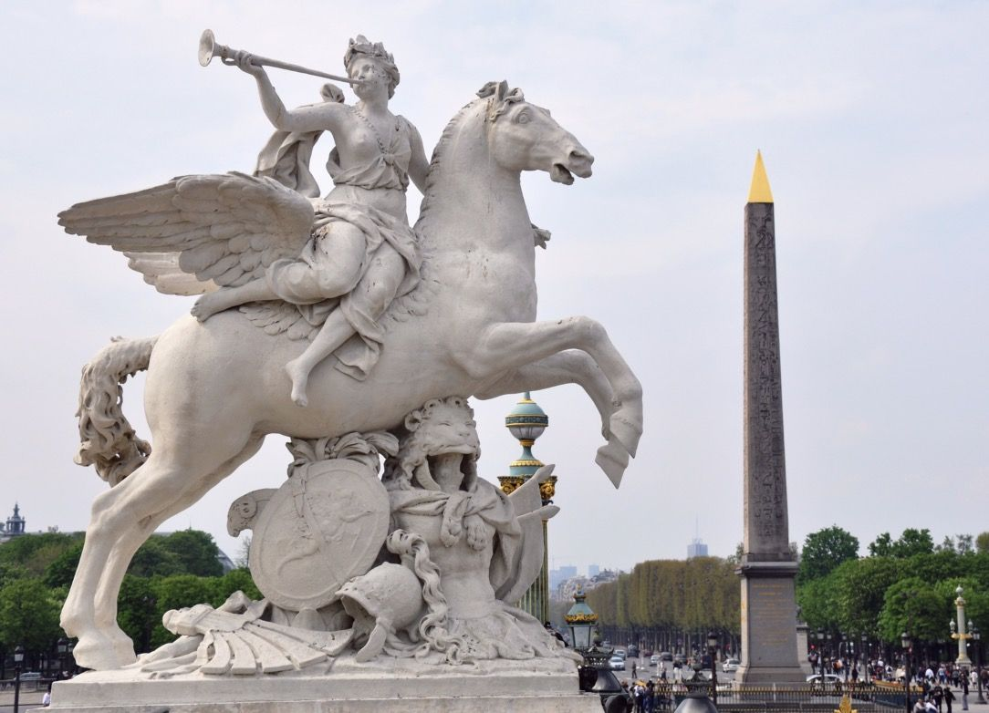 Famous statue of Hermes and Pegasus at the Tuileries Garden in Paris.