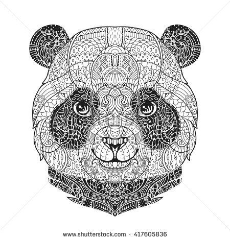 e36218f8eabbf Zen art panda. Animal portrait in zentangle style for the adult anti stress coloring  book on white background. Hand drawn zendoodle. Vector illustration.