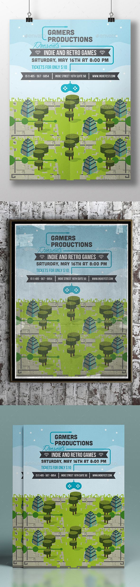 Game Festival Poster Template — Photoshop PSD #template #festival • Available here → https://graphicriver.net/item/game-festival-poster-template/11263075?ref=pxcr