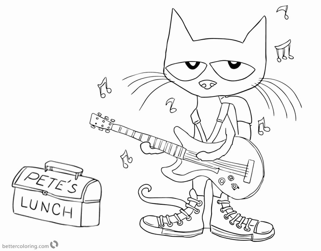 Pete The Cat Coloring Page Lovely Pete The Cat Coloring Pages Play Guitar For Lunch Free Cat Coloring Page Poppy Coloring Page Coloring Pages