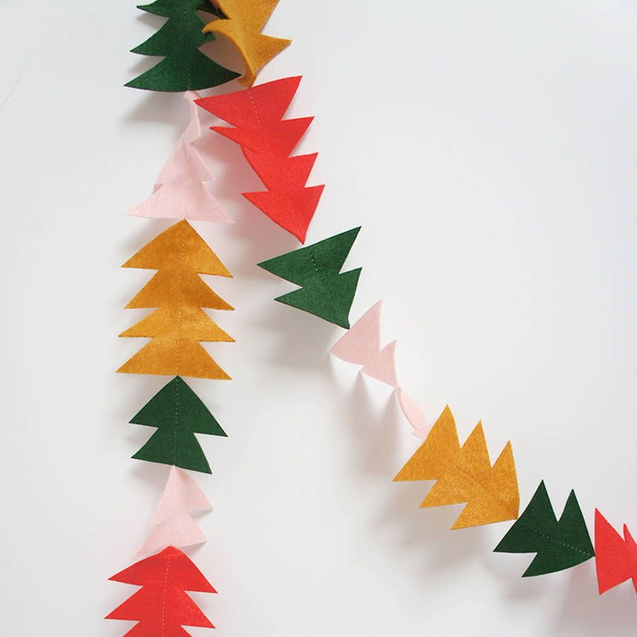 trees and triangles felt christmas garland - Felt Christmas Garland
