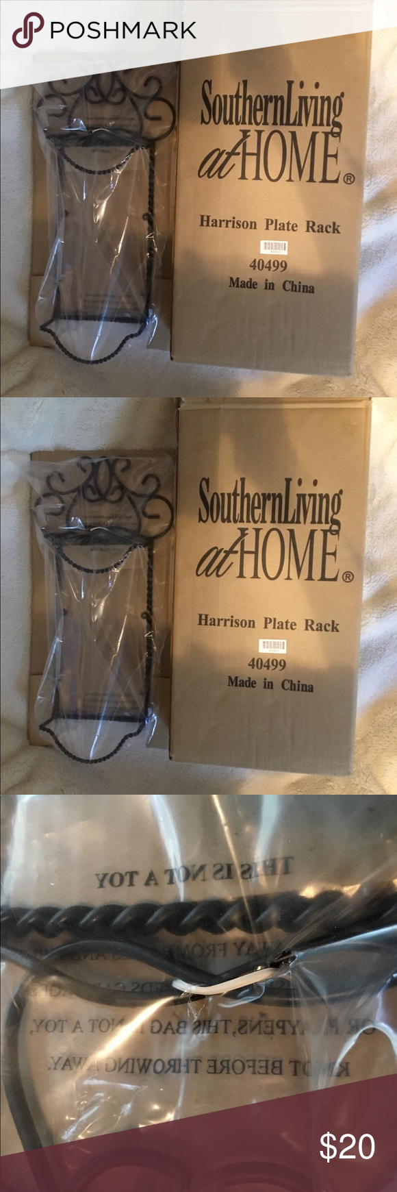 "Southern Living  Harrison plate rack. New in box. Nice Southern Living Harrison plate rack. New in box. Would make a great gift for Christmas, birthday, etc. Measurements: 33"" Long, 9 1/2"" wide. Black wrought iron. Southern Living at Home Wall Art Display Shelves #plateracks"