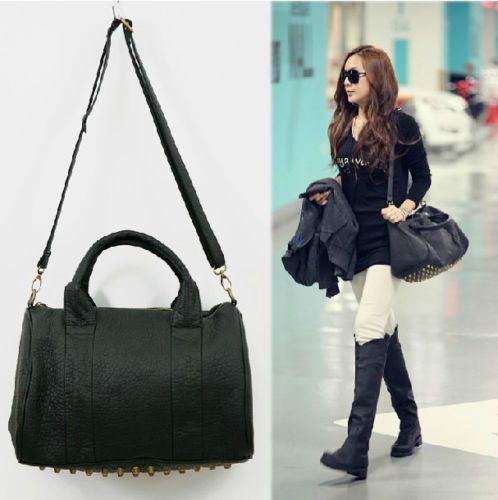 Hot Celebrity Stud Studded Bottom Black Duffel Tote Bag Ebay