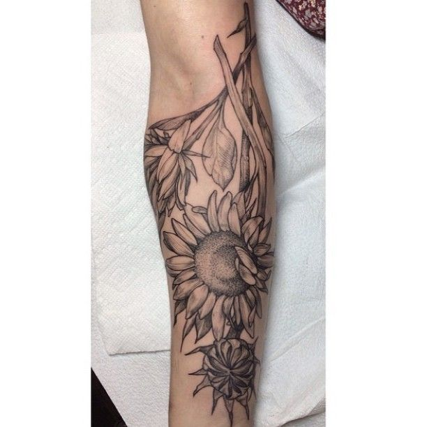 Sunflower Graphic Tattoo on Arm