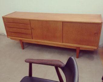 Credenza Danese Anni 50 : Sideboard credenza madia legno quercia design danese anni