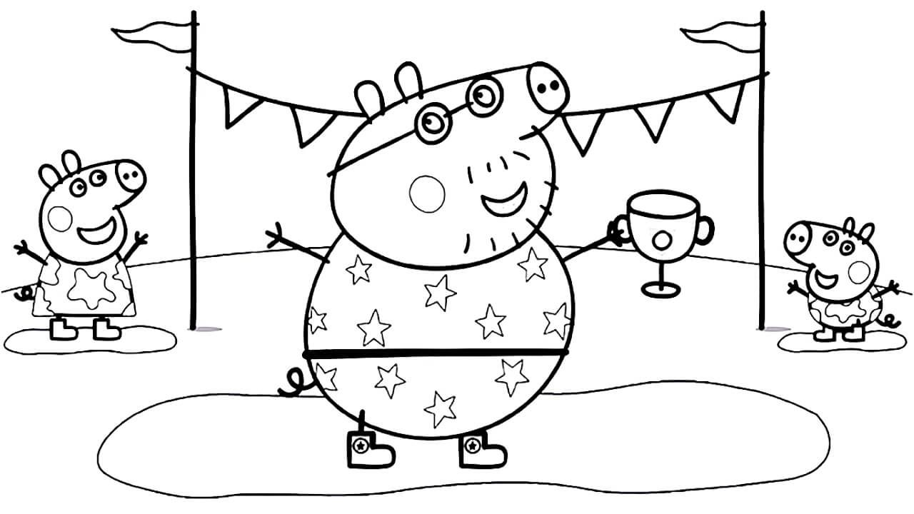 Daddy Pig With Peppa Pig Coloring Page Peppa Pig Colouring Peppa Pig Coloring Pages Coloring Books
