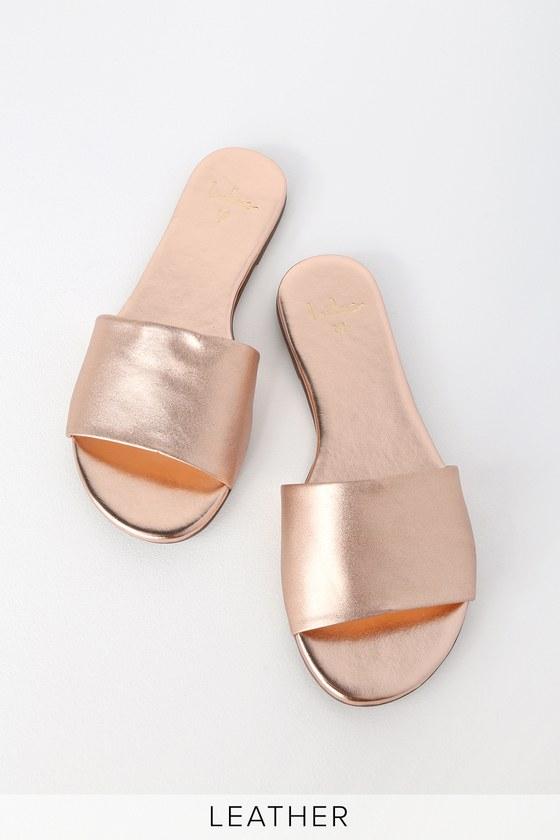 Tara Rose Gold Nappa Leather Slide