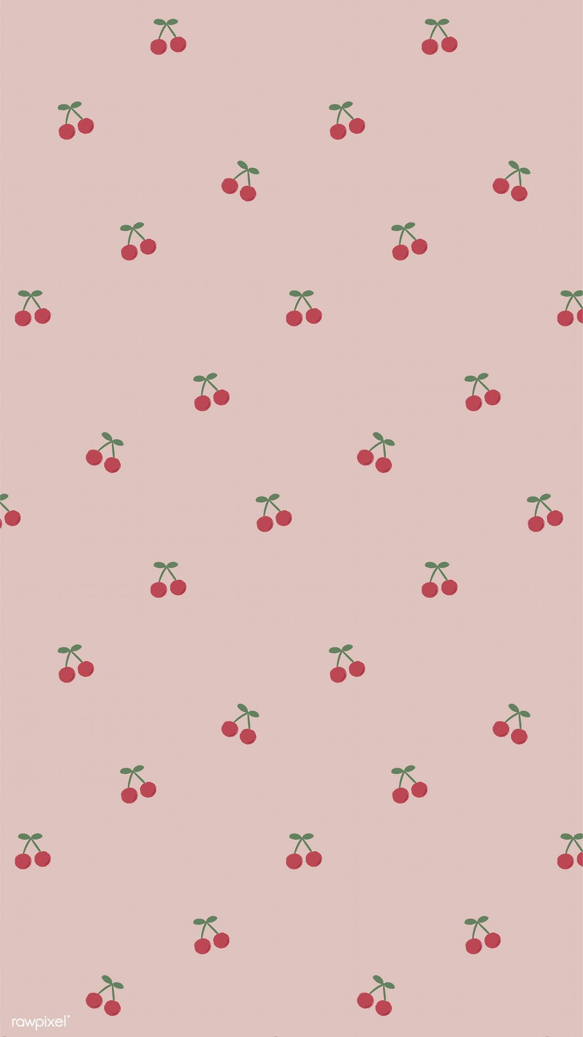 Download Premium Illustration Of Red Hand Drawn Cherry Pattern On Pink In 2020 Soft Wallpaper Pretty Wallpaper Iphone Cute Patterns Wallpaper