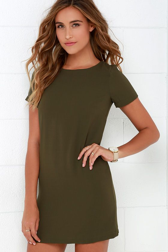 ecfb76ef65833 Shift and Shout Olive Green Shift Dress | Clothing and Style | Green ...