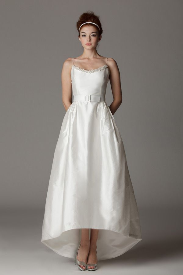 Spaghetti strap, scoop neck wedding dress with high low skirt ...