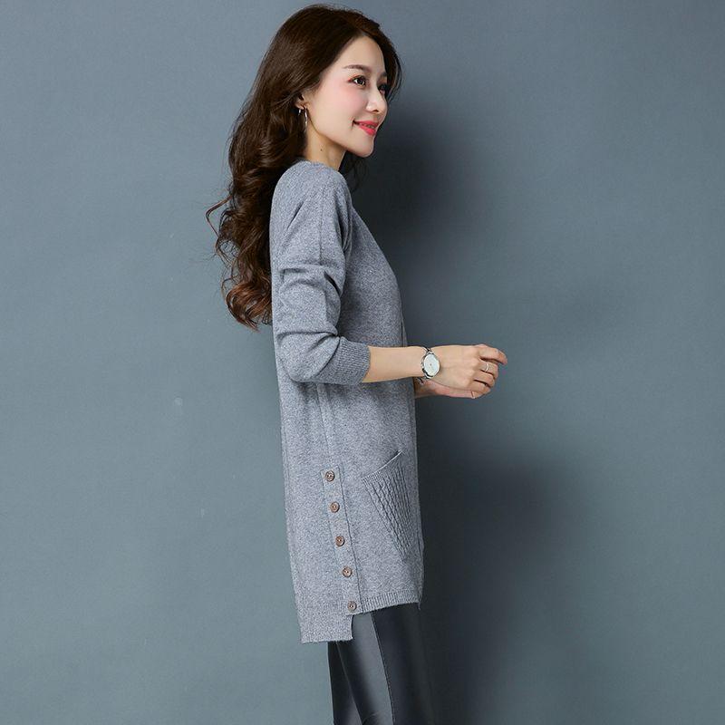 Новый корейский стиль Женская с круглым вырезом толстый свитер платье осень  и зима женские модные свитер трикотажное платье с карманами ce31cf3021d