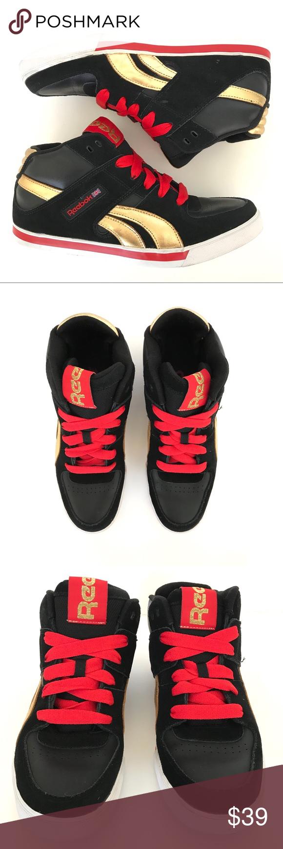 Reebok Mid Top Mens Sneaker Black Gold Res Size  9.5 Width  M Color  507f1129c
