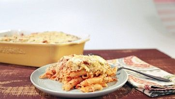 Baked Penne with Double Cheese Fondue and Pretzel Topping
