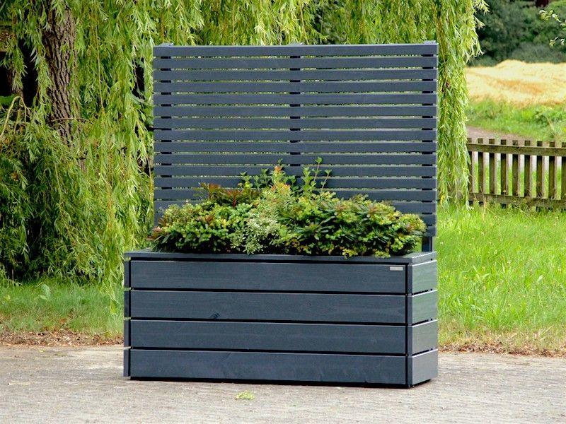 Pflanzkasten Holz Lang Mit Sichtschutz Anthrazit Grau Garten