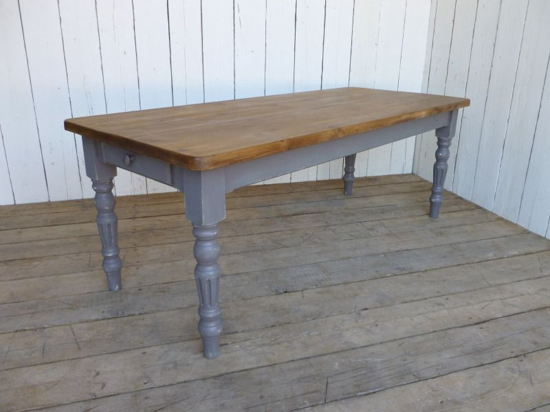 Reclaimed Pine Farmhouse Table With Fluted Legskitchen Tabledining - Pine kitchen chairs for sale