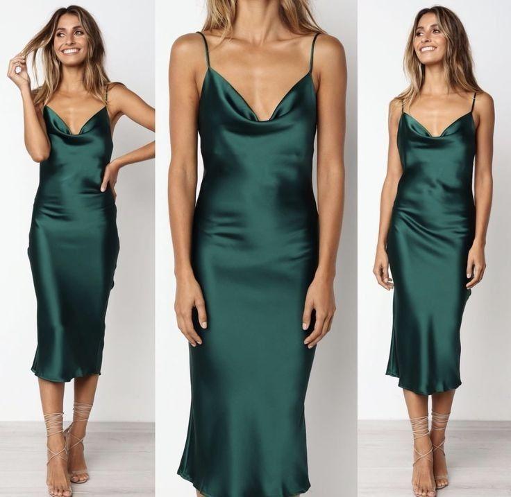 Pin By Beatriz Alves On Dress In 2020 Green Satin Dress Silk Dress Long Green Silk Dresses