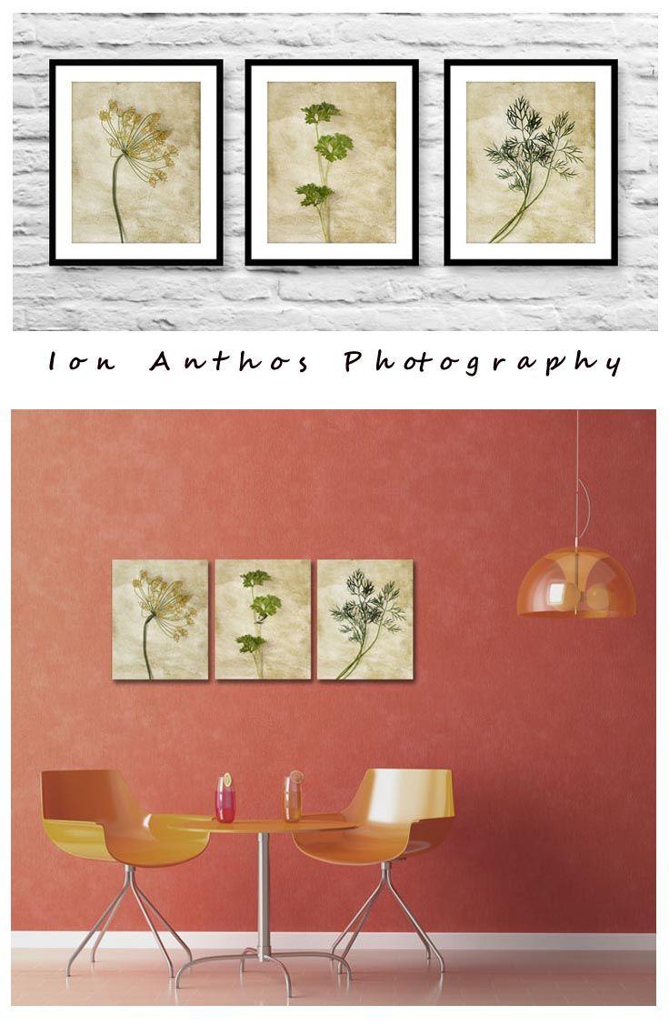 Kitchen wall decor neutral prints set botanical prints set