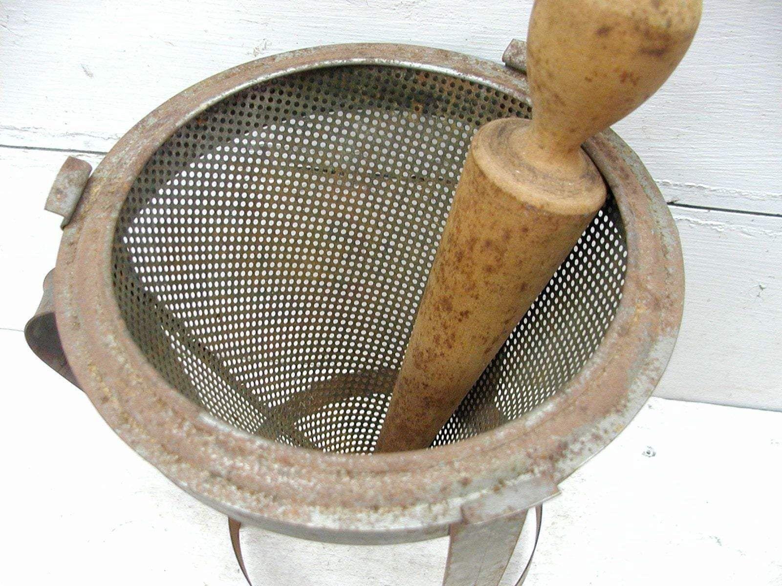 Vintage Metal Sifter Sieve Ricer - Counter Top Tin Kitchen Gadget