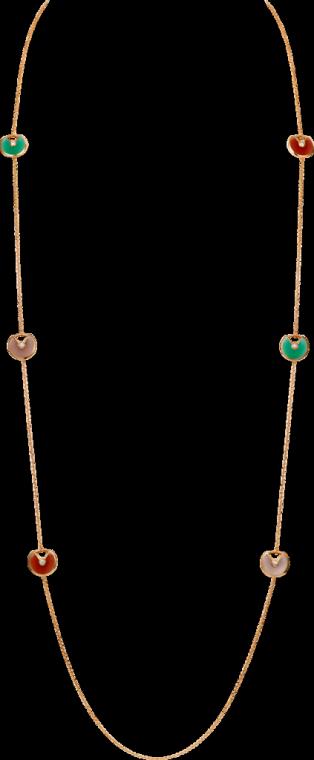 Amulette de Cartier long necklace, XS model Pink gold, pink opal, carnelian, chrysoprase, diamond