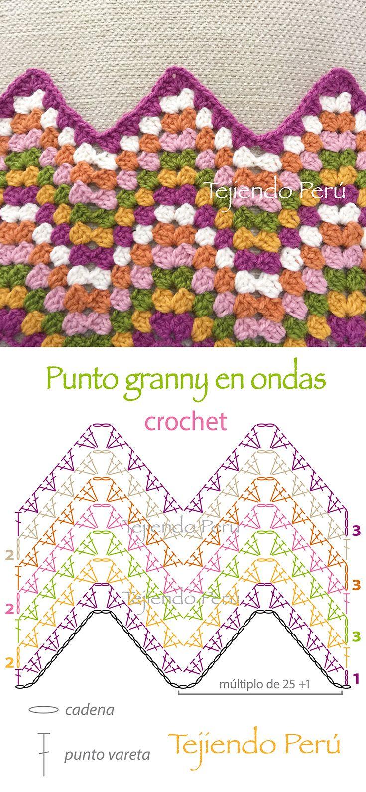Crochet: diagrama del punto granny en ondas! | patrones | Pinterest ...