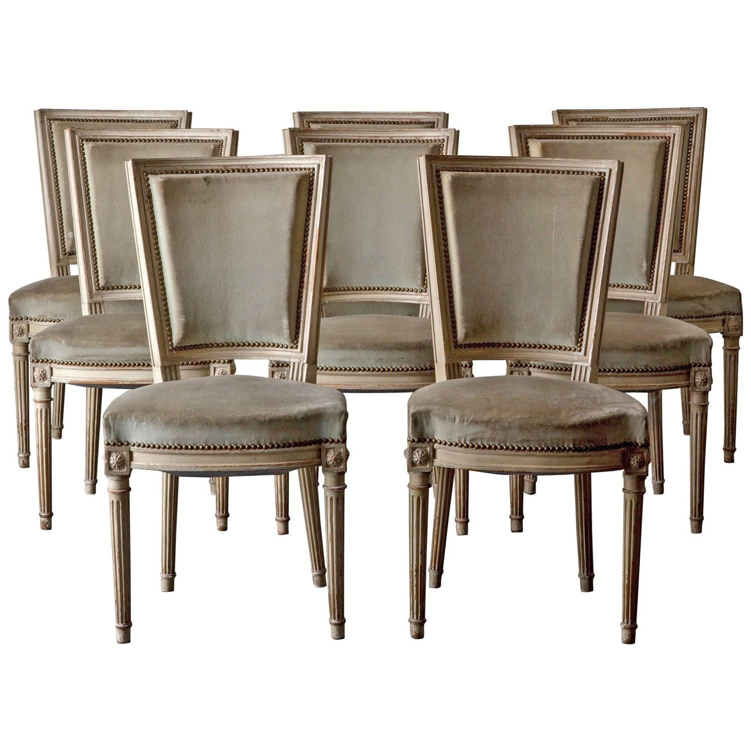 Chairs Dining Set Of Eight French Louis XVI Neoclassical White Frame France