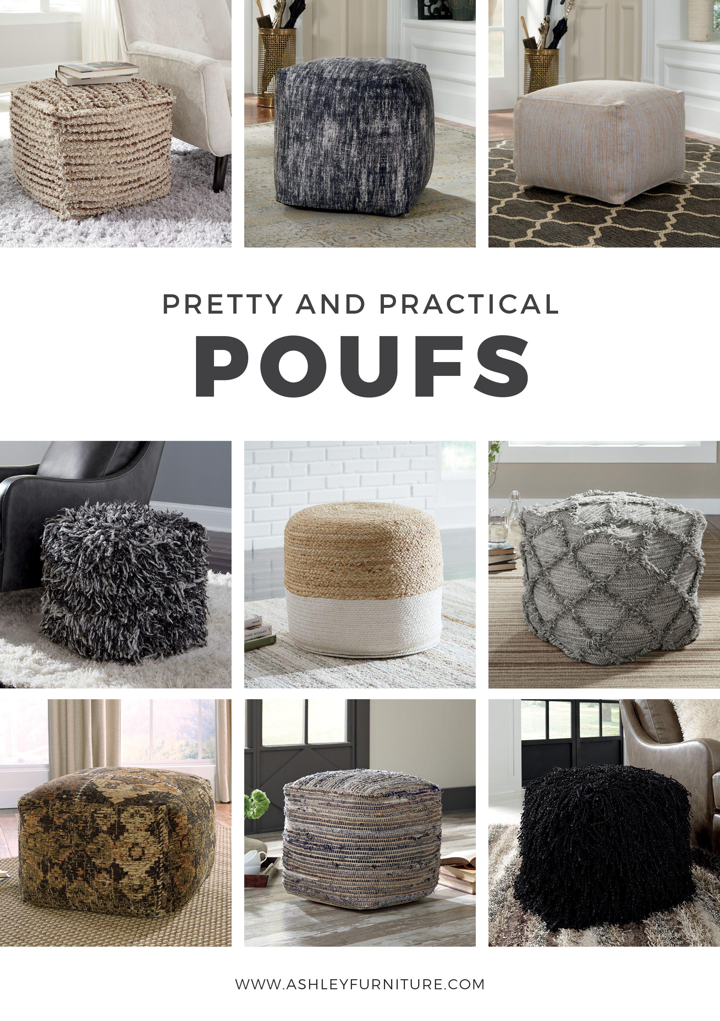 Pretty And Practical Poufs By Ashley Furniture Homedecor Pouf Poufs Ottoman Ottomans Ashleyfurniture Homeaccess Ashley Furniture Pouf Chair And A Half