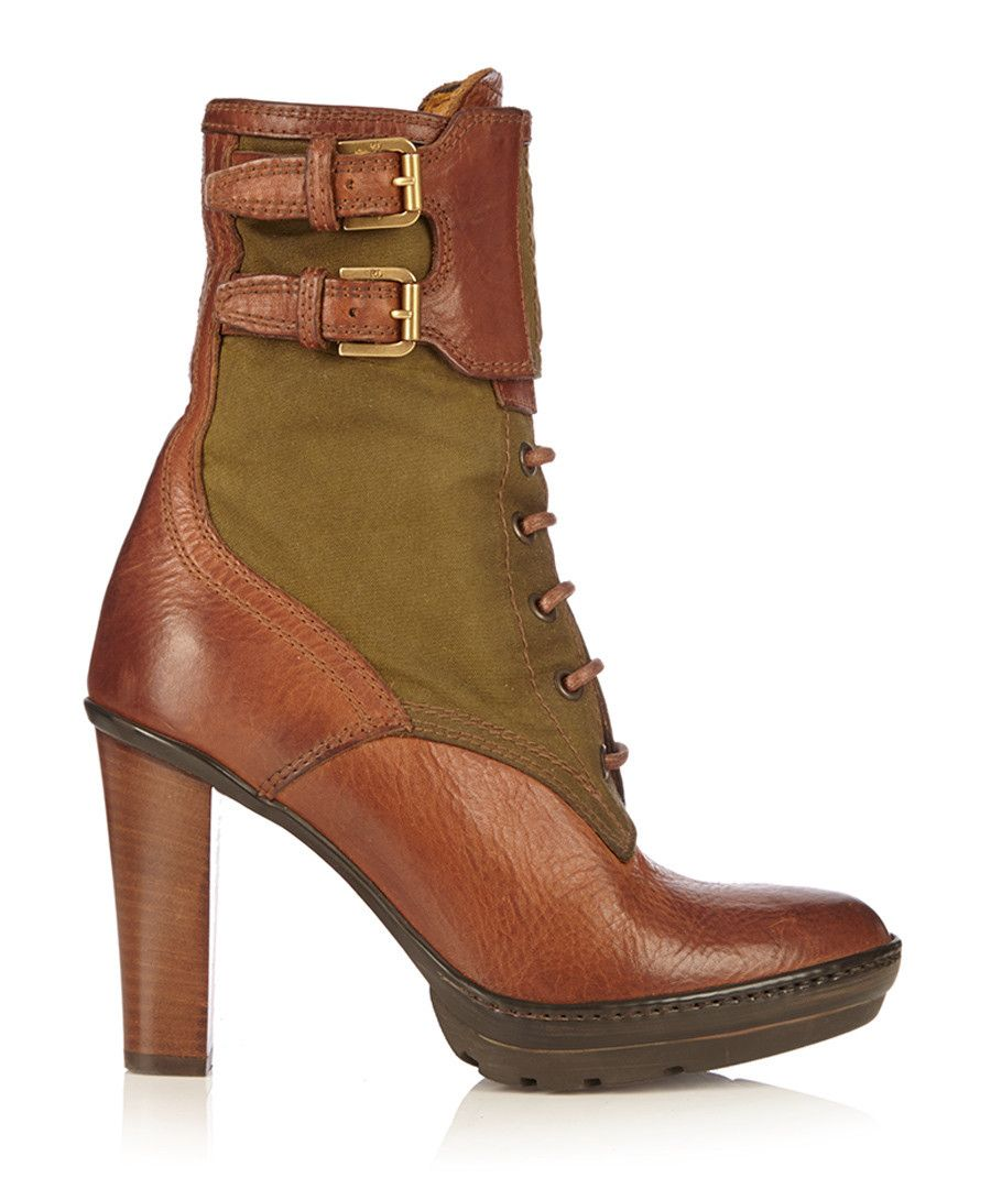 Women's tan leather heeled ankle boots by Ralph Lauren on ...