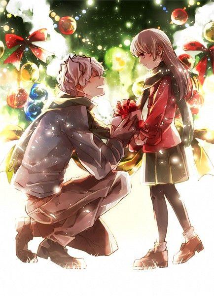 christmas anime boy girl couple game ib and garry christmas anime