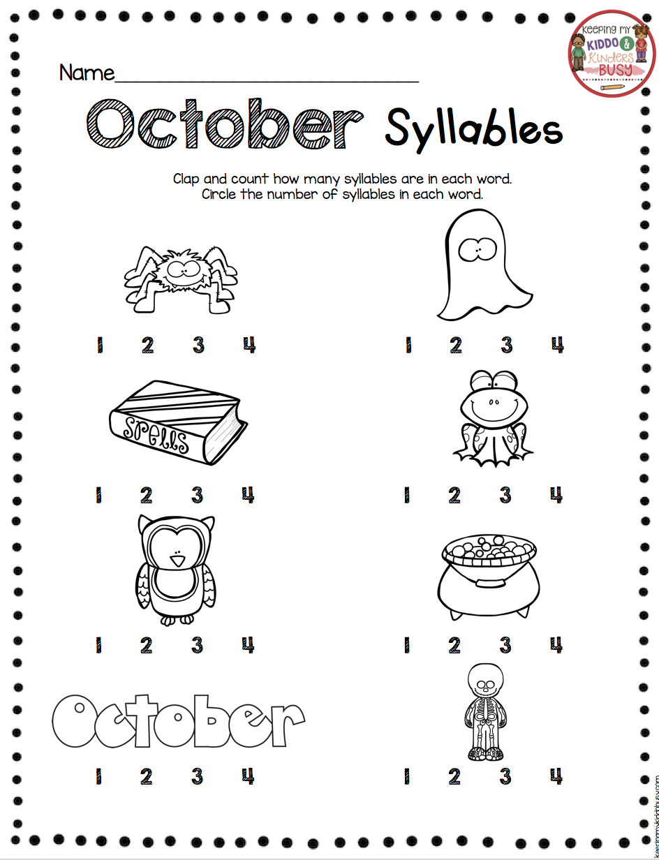October Math And Literacy Pack Freebies Keeping My Kiddo Busy Syllables Activities Syllable Worksheet Syllable