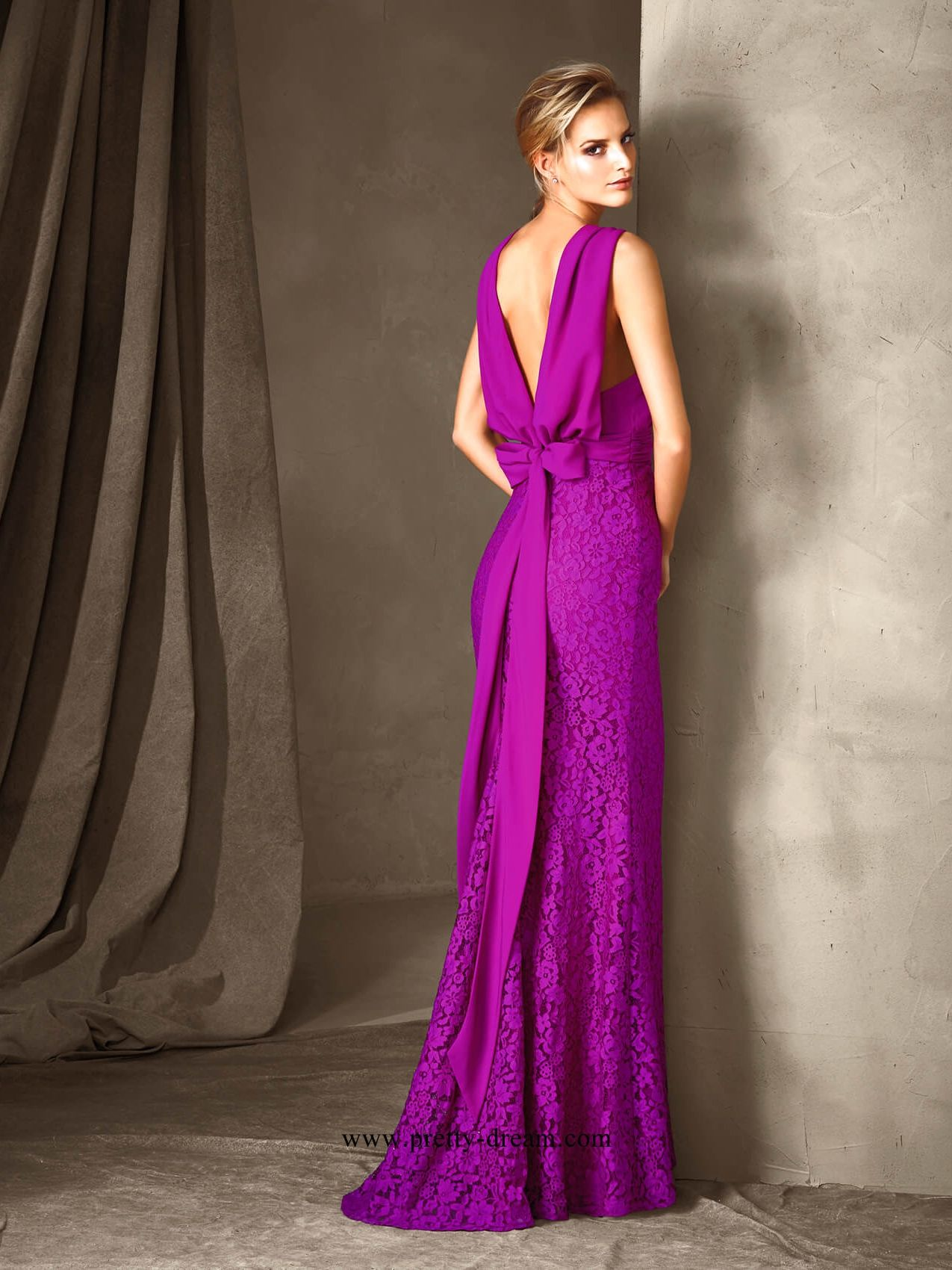 Mermaid off shoulder v-neck backless purple Prom Dresses With Lace ...