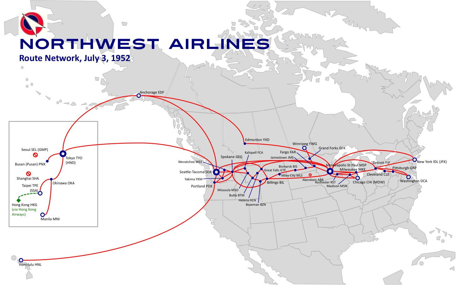 northwest airlines route map Yahoo Image Search Results