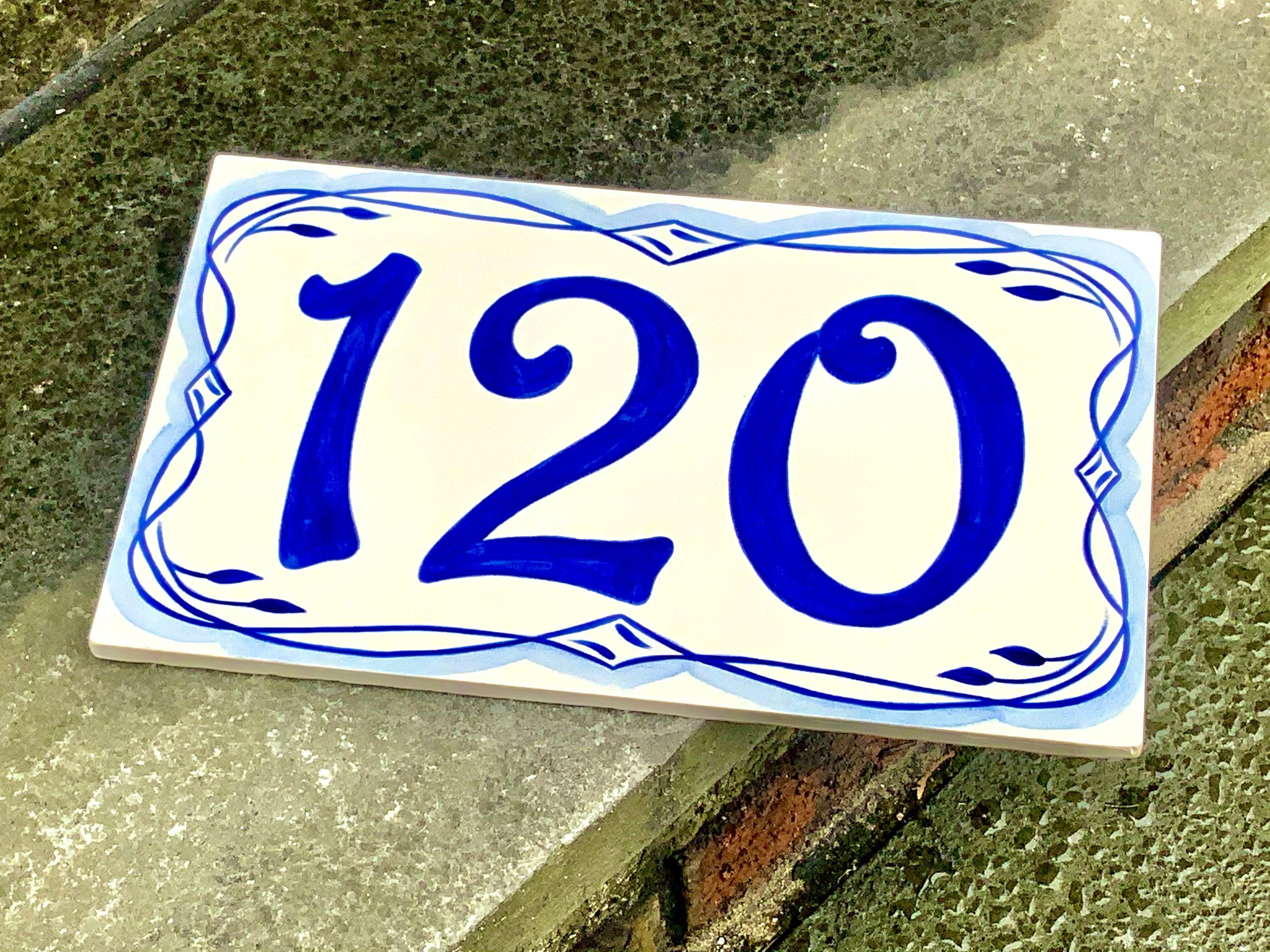 Welcome Plaque 13x18 Ceramic Bottom Travertine Cottage Salentino house number