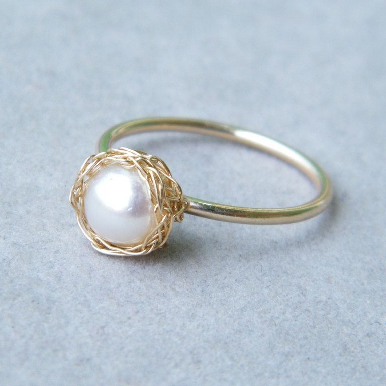 Pearl Gold Ring, Pearl Stack Ring, Crochet Gold Wire, Wire Crochet ...