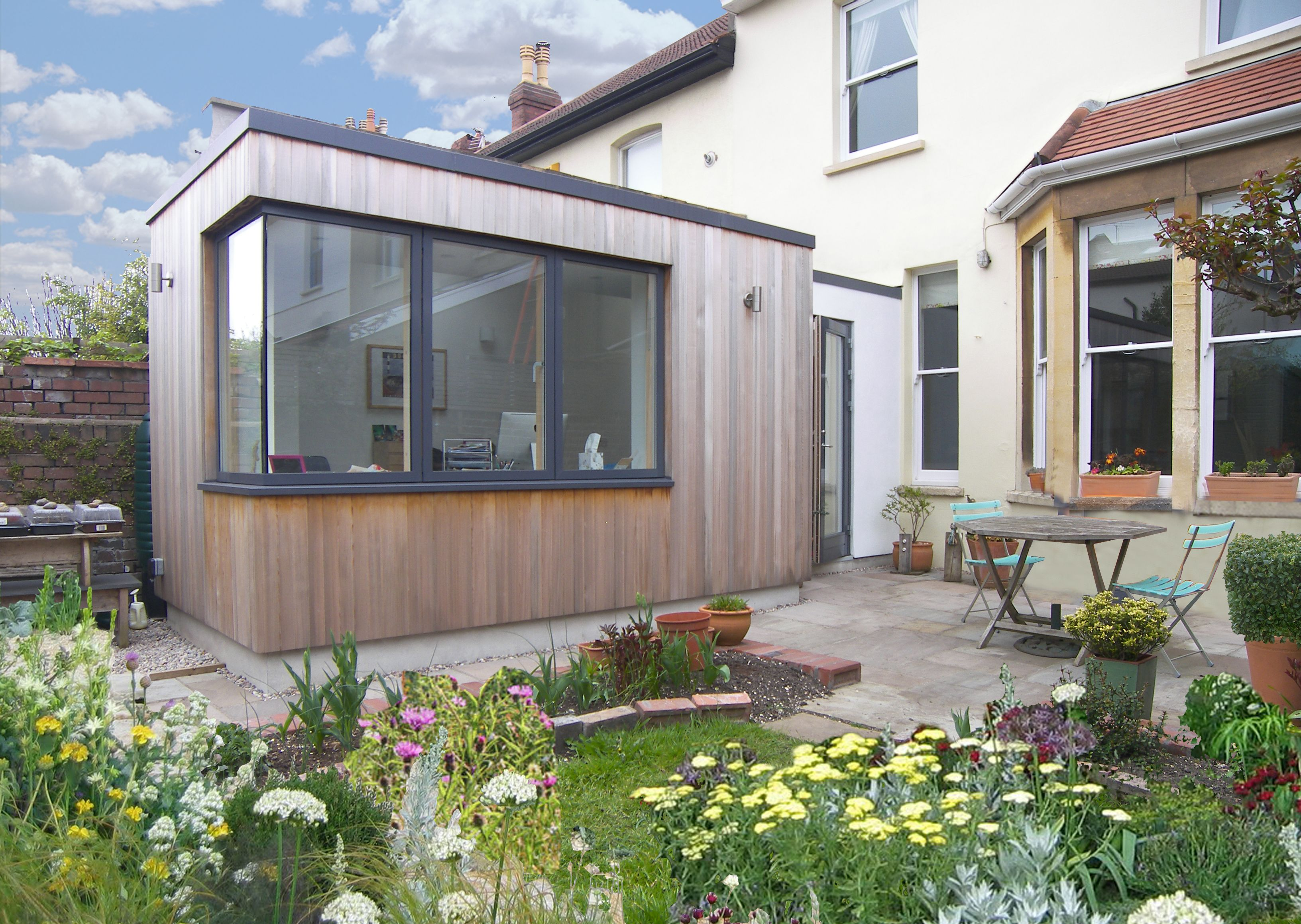 Garden Room For A Writer Contemporary Extension With Corner Window
