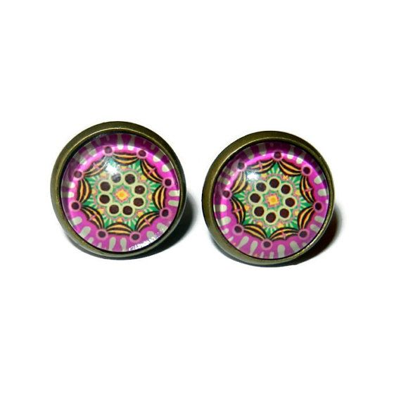 Purple and Green Post Earrings Brass Plated by CloudNineDesignz, $12.00