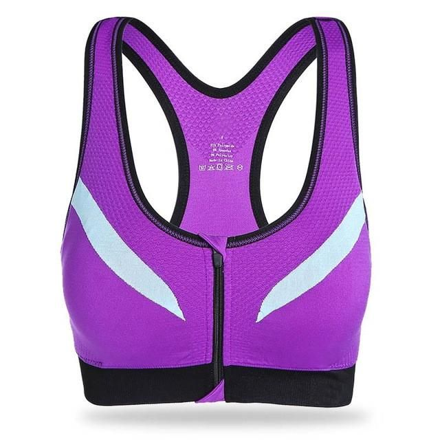 7a30f7665dbf8 2017 New Women Zipper vest Push Up Shockproof Top Underwear with Inner Pad  Fitness vest