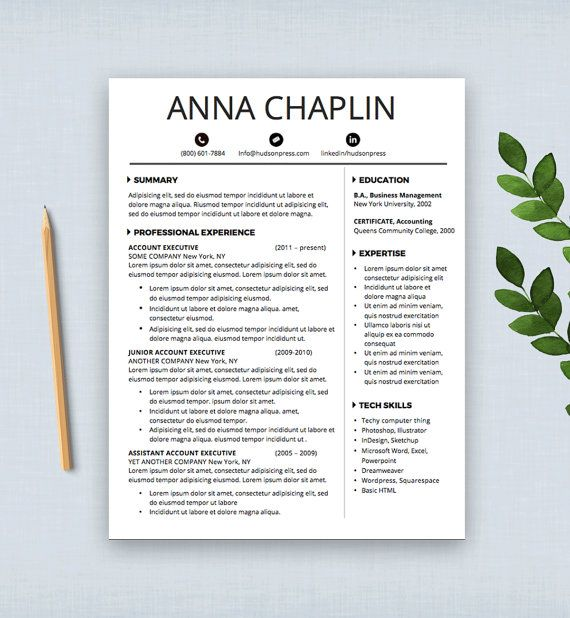 resume template cv template cover letter letterhead ms word digital - Letterhead Resume Cover Letter
