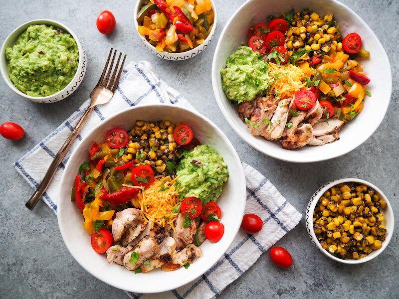 Easy Chicken Burrito Bowl with Homemade Guacamole Recipe