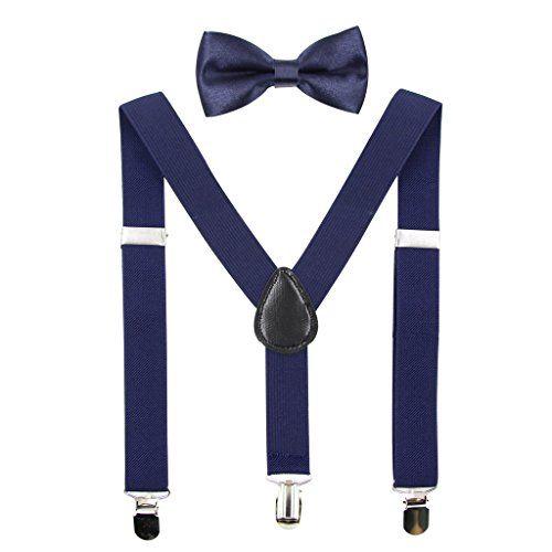 WDSKY Boys Suspenders and Bow Tie Set Y Back Adjustable