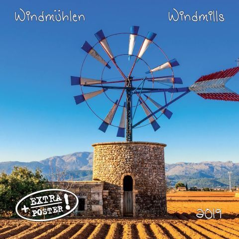 Windmills 2019 Wall Calendar 12 scenic color photographs of the